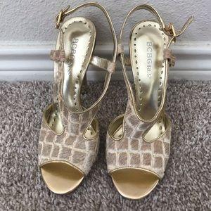 BCBG gold printed heels